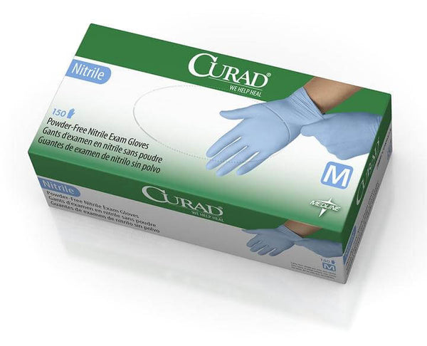 Curad PowderFree Nitrile Gloves, Blue, 150/Box