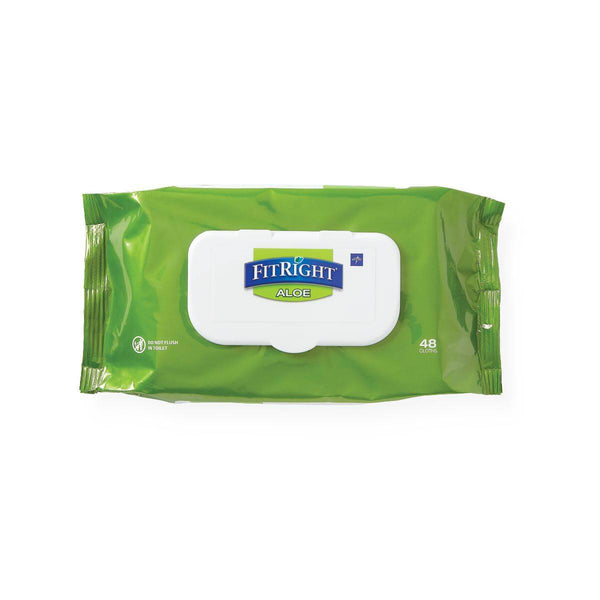 FitRight Aloe Personal Cleansing Wipes, Scented, 48 per Pack, 12 Packs per Case