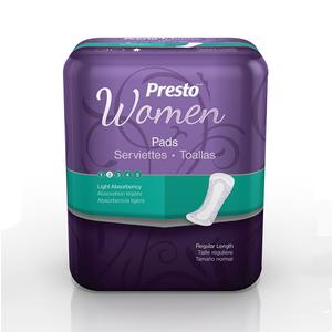 Presto Discreet Pads for Women, Light
