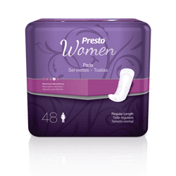 Presto Discreet Pads for Women, Maximum Long, 48 per bag