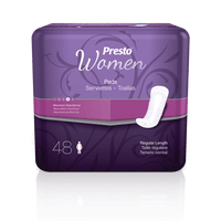Presto Discreet Pads for Women, Maximum, 48 per bag