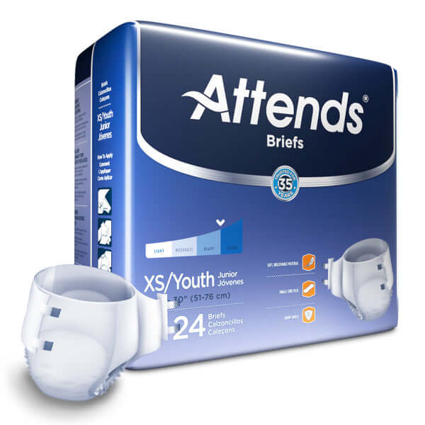 Attends Breathable Adult Diapers, XSmall/Youth