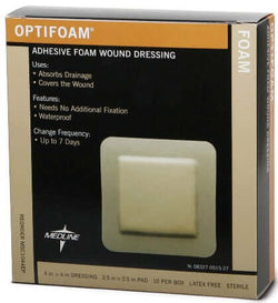 Optifoam Adhesive Dressing, 6x6, 10 per box