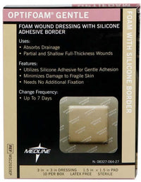 Optifoam Gentle Silicone Border Dressings, 3x3, 10 per Box