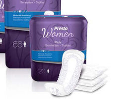 Presto Discreet Pads for Women, Moderate, 20 per bag