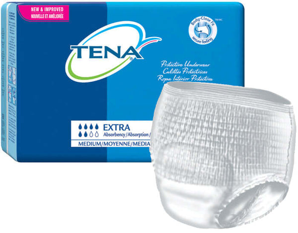 Tena Protective Underwear (Pullups), Extra Absorbency, Medium, 64 per case, Shipping Included