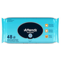 Attends Washcloths (Wipes), Unscented, 48 per Pack, 12 Packs per Case