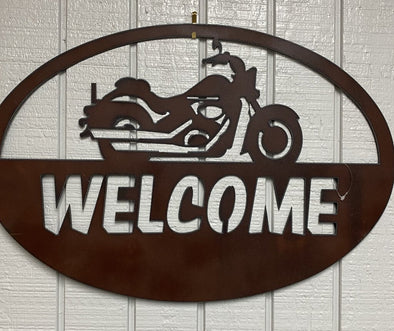 custom motorcycle sign NEW rust