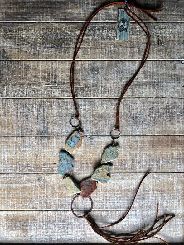 NEW aqua terra slab necklace