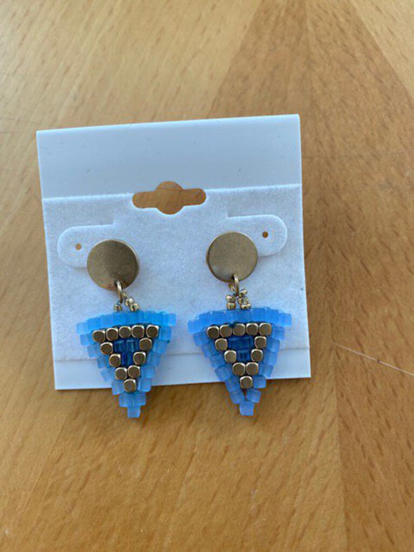 new earring blue/gold triangle
