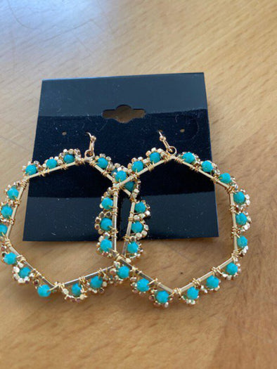 new earring gold/teal