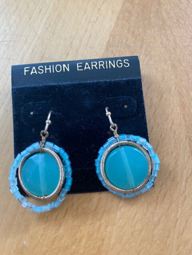 new earrings light teal