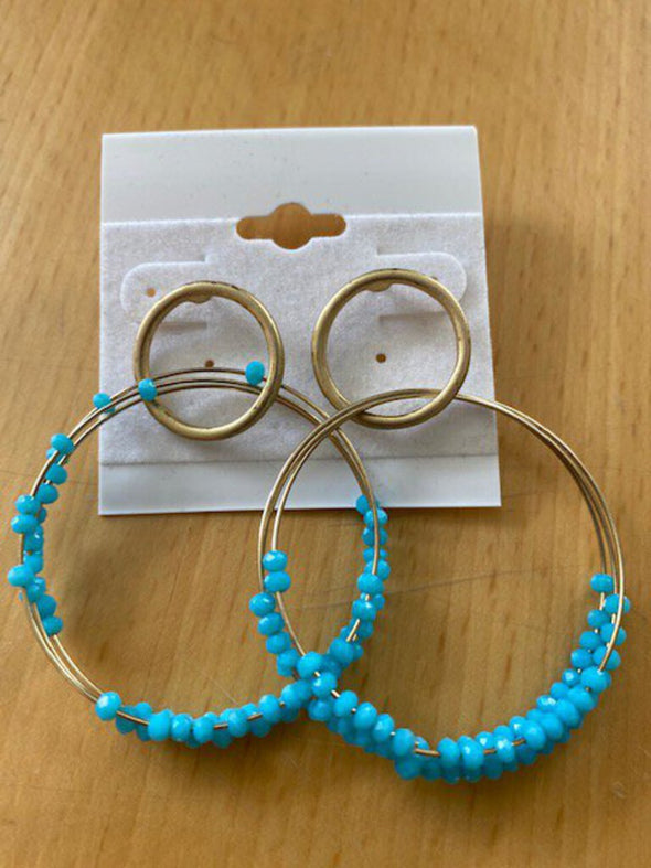new earrings gold/teal hoop