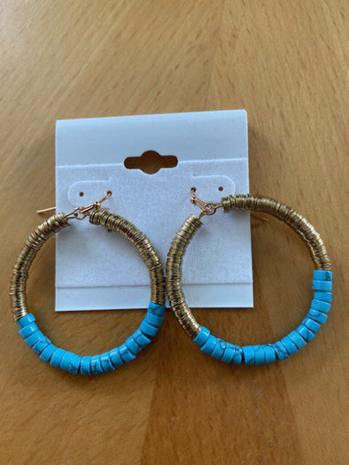 new earrings teal/gold hoop