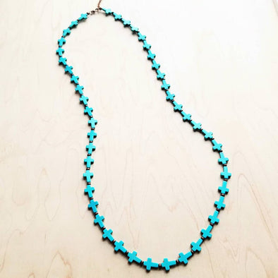 Blue Turquoise Cross and Wood Beaded Necklace 248g