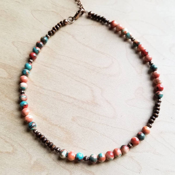Multi-Colored Turquoise Beaded Collar Length Necklace