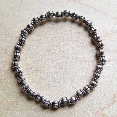 Bracelet Bar Antique Silver Beaded Stretch Bracelet 802g