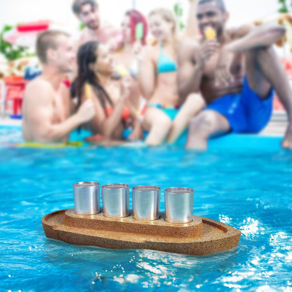PARTY BOAT - Cork Tray and Shots Set