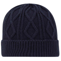Hermosa Beach SUPREME HERMOSA Cable Knit Beanie w/ Rib Knit Cuff - Navy