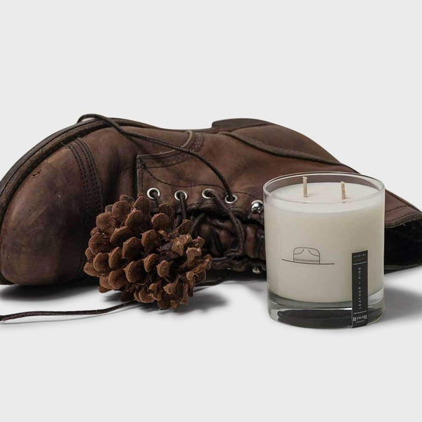 Leather + Pine Candle