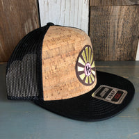 Hermosa Beach HB RISING SUN Premium Cork Trucker Hat - (Black/Cork)