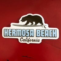 Hermosa Beach Sticker - SURFING GRIZZLY BEAR