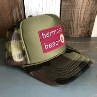 Hermosa Beach WELCOME SIGN Trucker Hat - Camouflage/Olive