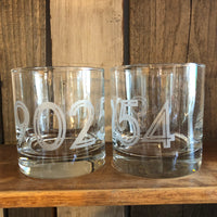 HERMOSA BEACH 90254 Zip Code Etched Whiskey Glass