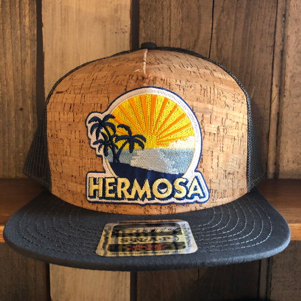Hermosa Beach FIESTA Premium Cork Trucker Hat - (Grey/Cork)