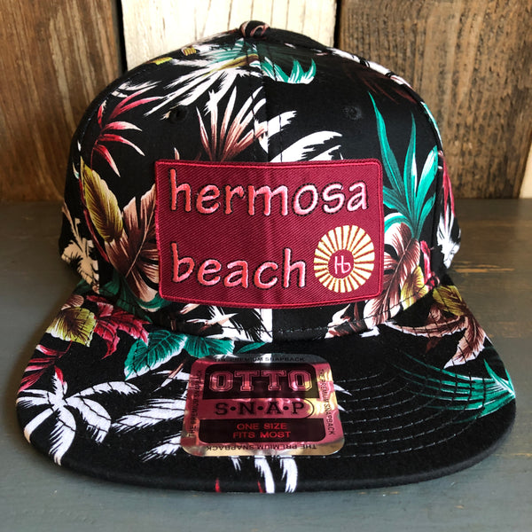 Hermosa Beach WELCOME SIGN Hawaiian Pattern 6 Panel Mid Profile Snapback Hat - Makai