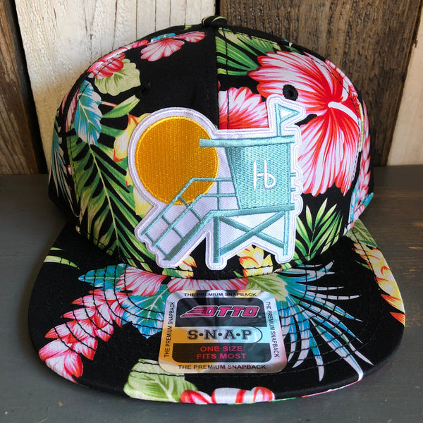 Hermosa Beach LIFEGUARD TOWER Hawaiian Pattern 6 Panel Mid Profile Snapback Hat - A 'o ia