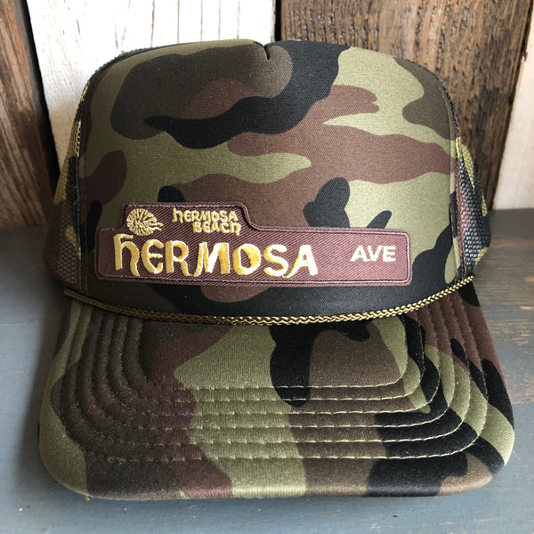 Hermosa Beach HERMOSA AVE Trucker Hat - Full Camouflage