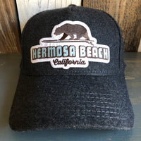 Hermosa Beach SURFING GRIZZLY BEAR 5 Panel Low Profile Melton Wool Blend Baseball Cap with Velcro Closure - Heather Black