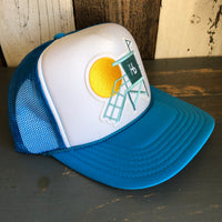 Hermosa Beach LIFEGUARD TOWER Trucker Hat - Neon Blue/White/Neon Blue