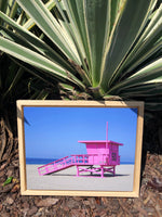"Pink Lifeguard Tower (15.75"" x 10.75"") - Natural Wood Frame"