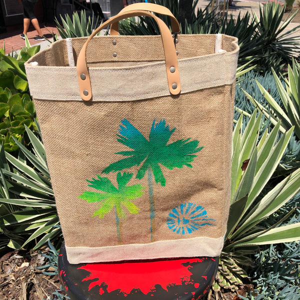 HERMOSA BEACH Market Bag - Local Artist Series featuring DRICA LOBO - Palm Trees
