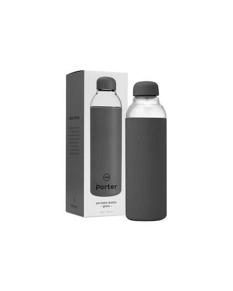 Porter Portable Water Bottle (Glass, Charcoal - 20 oz)