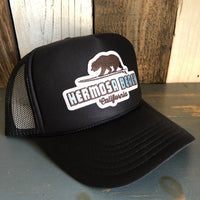 Hermosa Beach SURFING GRIZZLY BEAR Black Trucker Hat