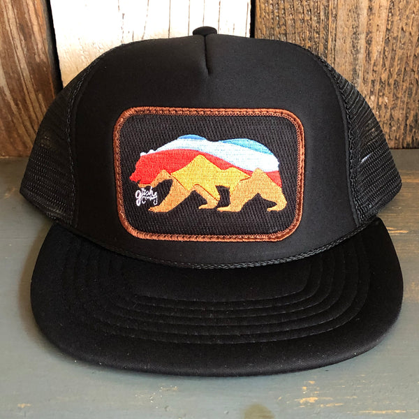 Sunset Bear Black Trucker (Brown Border)