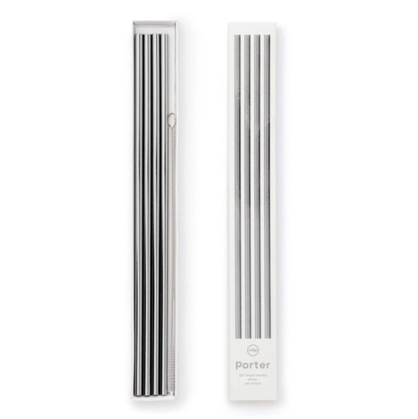 "10"" Metal Porter Straws, Set of 4 w/Cleaner, Silver"