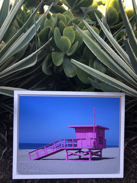 "Pink Lifeguard Tower (18.75"" x 14.75"") - White Frame"