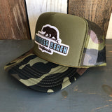 Hermosa Beach SURFING GRIZZLY BEAR Camouflage Trucker Hat