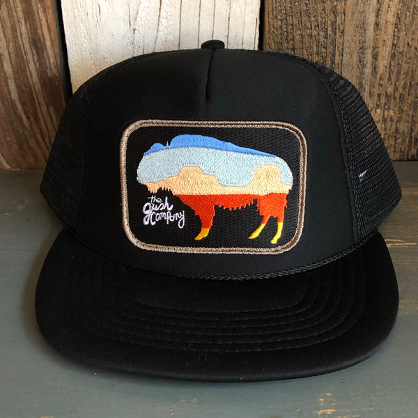 American Buffalo Black Trucker (Tan Border)