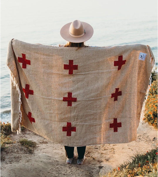 Positive Vibrations Blanket - Tan/Rust