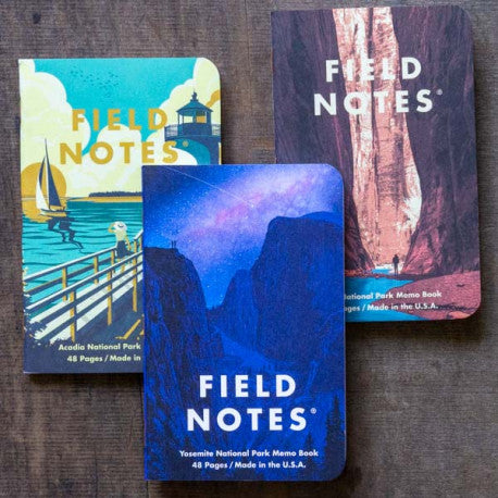 National Parks Memo Books - Series A (3-pack) - Yosemite/Acadia/Zion