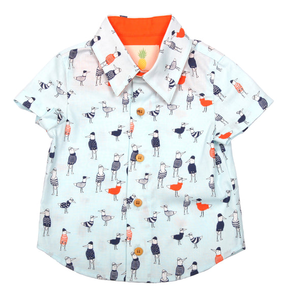 Boys Aloha Shirt - Seagulls In Sweaters