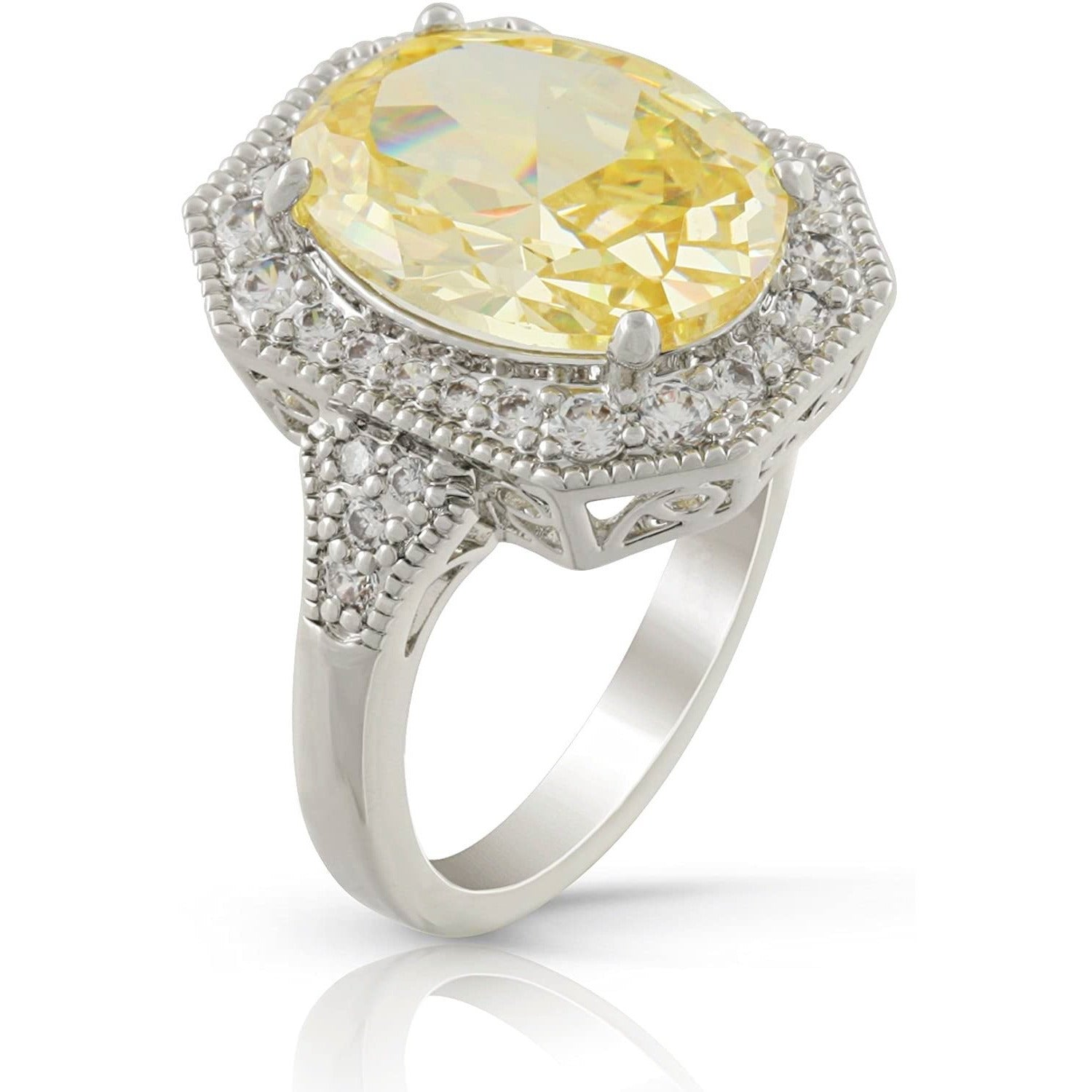 Made in New York City, our beautiful silver plated brass ring embellished with a cubic zirconia oval citrine cushion cut stone and white cubic zirconia diamonds on the surrounding.