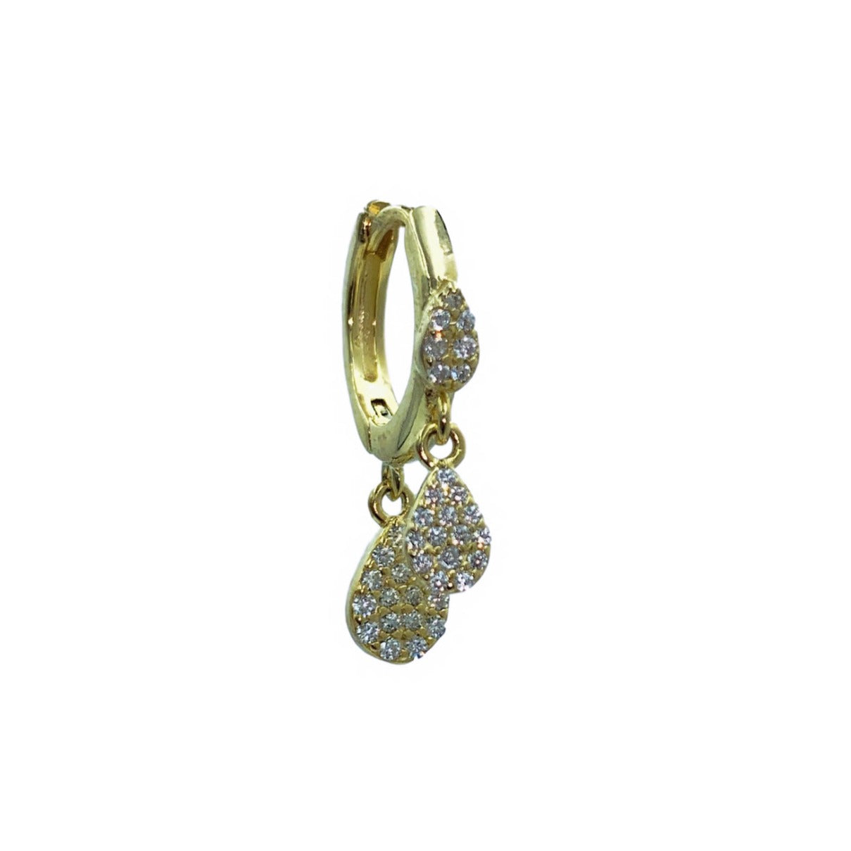 Made in New York City, our beautiful sterling silver gold plated embellished with three dangling pear - shaped cubic zirconia stones. Hypoallergenic.