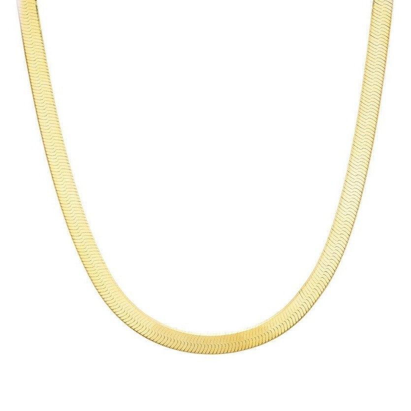 Made in New York city, herringbone necklace is 14K yellow gold plated sterling silver crafted with a chic etched design.Hypoallergenic.
