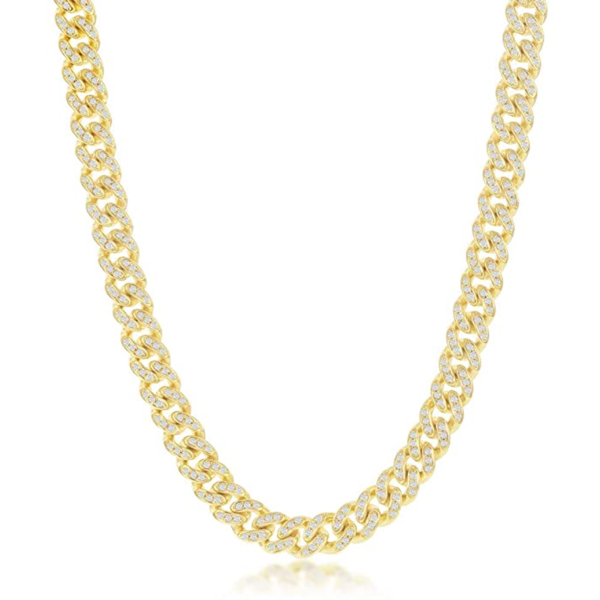 Made in New York City, Thin Cuban Link Necklace is brass silver gold plated embellished with cubic zirconia stones.